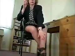 Mature Woman In Nylons Teasing Her Body