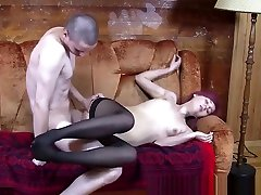 Cute redhead in nylons licked and drilled