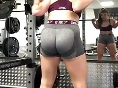 Sexy camel toe gym bending over