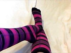 Sexy lisa ann nanl Sock Tease in Pink and Black Knee High Socks - Cute Feet