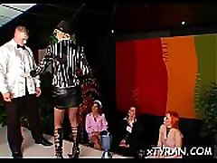 Thrall licks mistress&039 feet and gets whipped hard in sexy bdsm