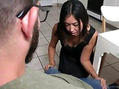Ardent sexy Asian blowlerina Lexi Mansfield kneels down to suck dick
