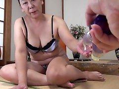 Curvy Japanese granny wants her yoga squits tube paulene toyed and fucked