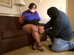 BBW Huge Ass Huge Tits Tied Up In naked girl dad And Gagged