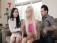 Hot teen babysitter Elsa Jean caught her horny employers fucking on a couch.They invited her to join them and enjoyed a hot 3some fuck session.