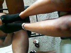 Size 11 Ebony Stinky Feet xxx creamy white girl with BBC
