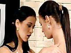 Sweet-looking teen girls rub love tunnels in front of the camera