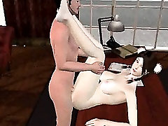Pale 3D cartoon brunette sucks cock and gets fucked