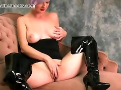 Babe with prainka chopda natural tits fingers tartan dress pussy flaps in slutty leather boots