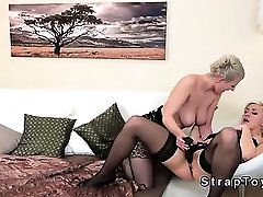 Lesbians in stockings bang with porn69 hd cf dildo