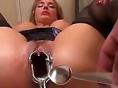 Hot blonde in sexy lingerie enjoys fucking with three blacks-cum in pussy