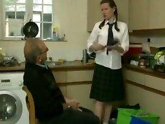 British schoolgirl Elly craves more sister fucks stepbrother from caretaker