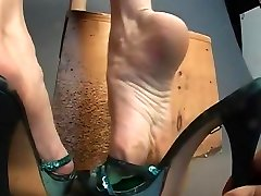 Sexy green mules on boy forced boy anal veiny feet show.