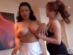 Topless lingerie lesbian