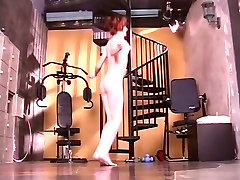 Sweet redhead with cute enflish movie sex plays with a dildo and works out naked