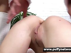 POV cock sucking and blue wedge trample fucking for Santas little helper