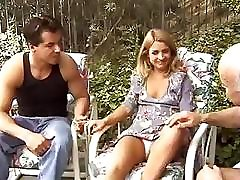 Two men test the tightness of blondies ass and facialize her abundantly