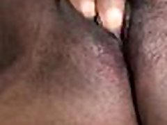 My black girlfriend playing with her pussy