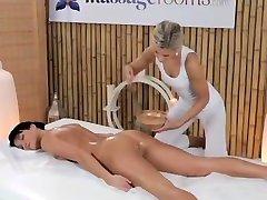 Elegant model gets long legs oiled and has sensual lesbian 69