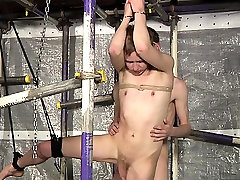 Lustful homo twink gets his first thraldom sex experience