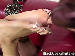 White feet interracially fucked