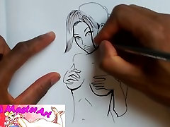 Resident Evil 2 Claire Topless Fan art speed drawing