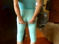 leggings sissy bitch shows his fem ass and camel toe.