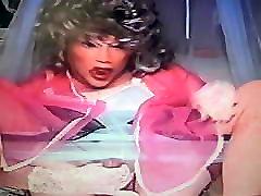 wig mask crossdresser- shemale ff nylons, sheer nylon