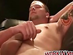 Tattooed butt passage hunk solo masturbates his big cock and cums