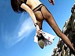 Hot brazilian girl with hairy pussy peeing on the beach