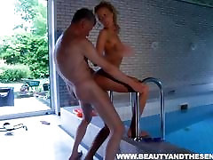 Hot teen gives BJ and footjob to an old guy