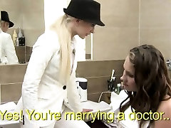 Brunette lesbian bride getting her pussy licked