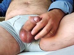 Daddy Masturbating Big Fat Cock in Boxer Underwear