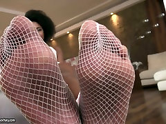 Ebony hottie Luna Corazon gives her head and provides white man with a great footjob
