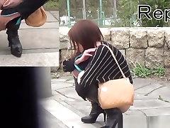 Asian In Heels Urinates