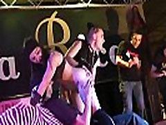 bdsm blowjob on stage brunette