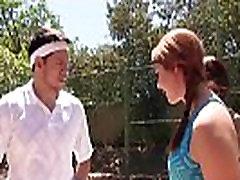Busty tennis teen fucked in front of her BFFs outdoor