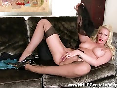 Posh busty blonde Danielle Maye strips off lingerie masturbates in nylons