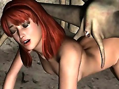 Sexy 3D redhead babe gets fucked by an alien spider