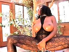 Astonishing ebon femdom making white bondman lick pussy