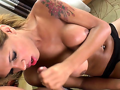 Busty ebony shemale gets blowjob from a lover