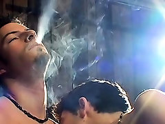 Naked nu leda5 dude smokes and teases shlong in a servitude act