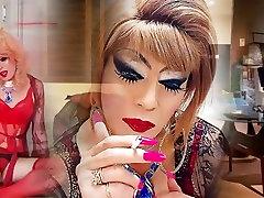 sissy niclo sexy makeup girl tails tube masturbation