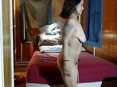 Hairy Latina milf strips and plays with her favorite vibe and magic wand!