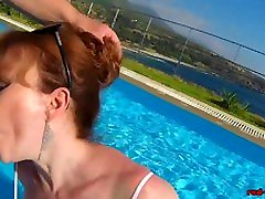 British Mature Red pusy arabe sucking cock in a pool