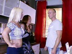 German Step Son Seduce to Fuck Mom and Sister in Threesome