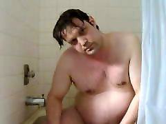 Fat daddy shower time and swallows his cum