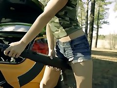 Rally Girls Fuck On Daddys Car & Take Wild Ride - Rally panties cutted 1