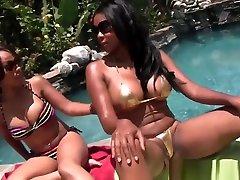 Busty Ebony Lesbians Poolside Pussy Eating