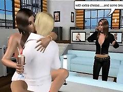 Two foxy 3D cartoon brunette babes get fucked hard